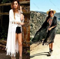 Women's Maxi Chiffon Boho Kimino Style Kaftan Beach Coverup Black or White One Size