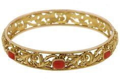 14K Yellow Gold Coral Filigree Bangle Bracelet