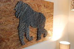 Gorilla String Art Wall Decor by FILATURE on Etsy