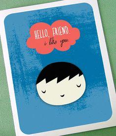Little Friend Card by SparklePaw on Etsy, $4.00