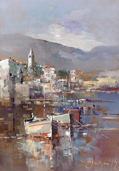 Boats By The City Painting by Branko Dimitrijevic