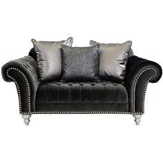 "El Dorado Furniture - Laura Black 77"" Loveseat ($1,449) ❤ liked on Polyvore featuring home, furniture, sofas, black sofa, nail head sofa, black furniture, black couch and nailhead sofa"