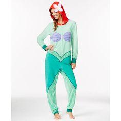 Ariel Adult Hooded Onesie ($24) ❤ liked on Polyvore featuring intimates, sleepwear, pajamas and little mermaid