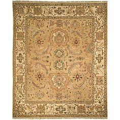 Oushak Legacy Gold / Ivory Hand-spun Wool Sari Rug (10' x 14')