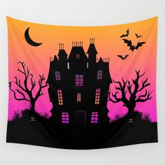 Haunted Silhouette Rainbow Mansion Wall Tapestry by Rainbowdreams #Halloween