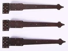 Set of 3 Gustav Stickley strap-hinges from the front door of a Gustav Stickley Craftsman bungalow from Oyster Bay, Long Island, NY. Signed with impressed circular mark. Excellent new patina.