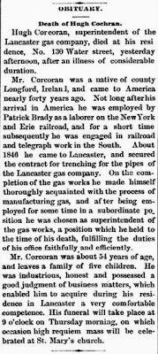 Genealogical Gems: Sunday's Obituary: Hugh Corcoran
