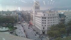 Barcelona, Plaza de Cataluña, esquina Paseo de Gracia.