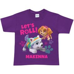 Personalized PAW Patrol Let's Roll Toddler Girls' Purple T-Shirt, Toddler Girl's, Size: 3 Years