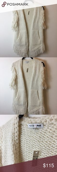 NWT Madewell x Daryl K Fringe Sleeveless Vest Madewell x Daryl K white wool blended Sleeveless fringe sweater vest. Open front and not lined. Cute and bohemian! Madewell Sweaters