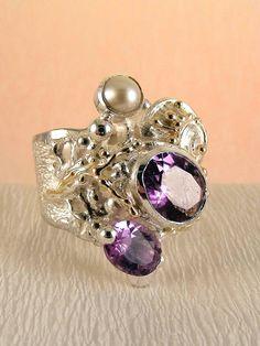 Gregory Pyra Piro #Schmuckkunst Silber und Gold mit #Edelsteinen Unikat #Ring Nr. 8442