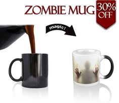 Zombie Mug | ($25.70), $17.99 -30% | Morphing Zombie Mug turns your morning coffee into a Zombie adventure. Finish your morning cup of Joe to escape the haunting Zombie creeping around your cup. Ceramic, Black when cold, Zombie attack when hot! Capacity: 11 oz. Height: 9.5 cm. Diameter: 8.1cm.
