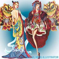 Year of the Rooster | Fashion Design & Illustration by Paul Keng @paulkengillustrator