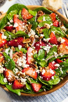 Strawberry Spinach Salad Chock full of pecans feta strawberries and red onion Well Plated by Erin salad salad salad recipes grillen rezepte zum grillen Healthy Salad Recipes, Healthy Snacks, Vegetarian Recipes, Healthy Eating, Cooking Recipes, Balsamic Salad Recipes, Simple Salad Recipes, Green Salad Recipes, Easy Salads