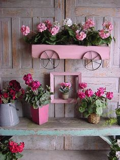 Lovely! Planter Box Pink Wagon Wall Mounted French Country Cottage Farmhouse Beach Hand Forged Iron Wheels