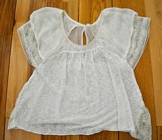 Free People, XS, scoop neck top, sheer, lace, dolman sleeve, button back, white