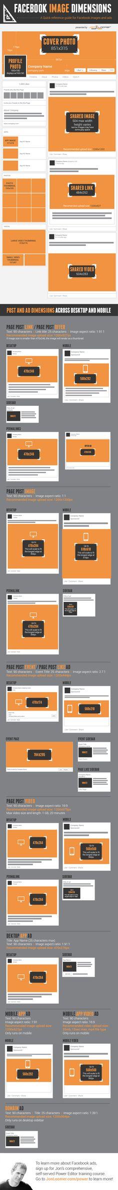 #Facebook image dimensions - A quick reference guide for facebook images and ads #Infographic.  Tutte le dimensioni delle immagini di Facebook in un #Infografica