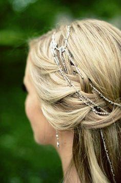 Bride's long braided half up  bridal hair ideas  Toni Kami Wedding Hairstyles ♥ ❶ Renaissance hair jewelry