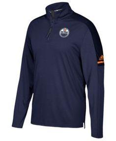 adidas Men's Edmonton Oilers Authentic Pro Quarter-Zip Pullover - Blue XL