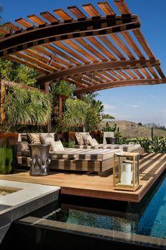 Get the perfect custom pergola shade for your delight. Find the pergola pool designs that suit the space you want to create! Diy Pergola, Pergola Canopy, Wooden Pergola, Outdoor Pergola, Pergola Shade, Backyard Patio, Pergola Ideas, Cheap Pergola, Outdoor Spaces