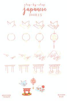 Bullet Journal Japan, Bullet Journal Books, Bullet Journal Ideas Pages, Bullet Journal Inspiration, Japanese Drawings, Easy Drawings, Crane Drawing, Fernando Lopez, Japanese Paper Lanterns