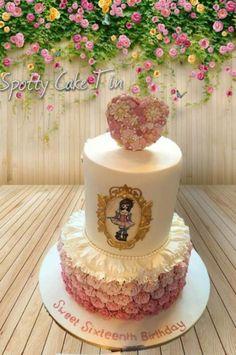 ruffle rose cake - Cake International Entry - Spring Birmingham 2016   by Shell at Spotty Cake Tin
