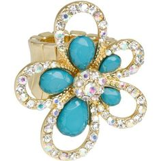 Heirloom Finds Modern Flower Power Ring of Turquoise & Aurora Borealis Crystals Heirloom Finds. $16.99. Makes a Great Gift. Arrives Gift Boxed!. Ring stretches to fit sizes 6 to 10. Pair with jeans or a cocktail dress - endless versatility!. Show your feminine flare and big attitude with this flower ring!. Fun for day or night!. Save 50% Off!