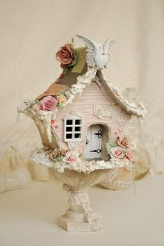 Gorgeous!! swansong-willows: (via Fairy Worlds 7) bird house altered art shabby chic
