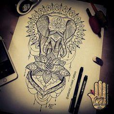 Mandala elephant tattoo design idea by Dzeraldas Jerry Kudrevicius Atlantic coast tattoo in Newquay Cornwall. Lotus flower lace.