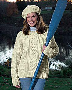 Free Knitting Pattern - Women's Sweaters: Aran Sweater