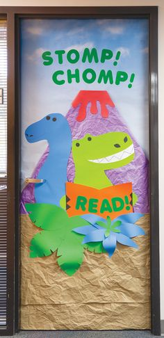 Get teachers on board with building Book Fair enthusiasm by hosting a door decorating contest. Challenge classes to create the best Fair door promotion. Dinosaur Classroom, Dinosaur Theme Preschool, Dinosaur Activities, Preschool Crafts, Dinosaur Bulletin Boards, Door Decoration For Preschool, Teacher Door Decorations, Library Decorations, Classroom Door