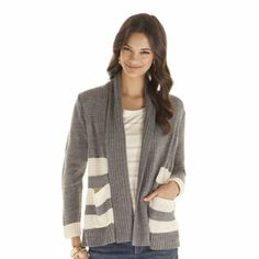 daisy fuentes Striped Open-Front Cardigan - Petite