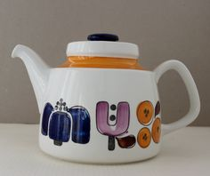 Rorstrand Sweden KARNEVAL Timo Sarvimaki  II  Thee Pot / Coffee Pot  II  Design 1970s. $37.00, via Etsy.