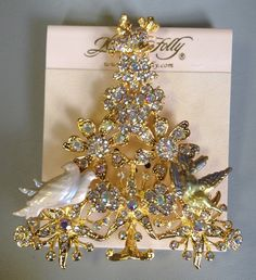 Signed Kirks Folly Rhinestone Partridge in A Pear Tree Christmas Brooch Pin | eBay