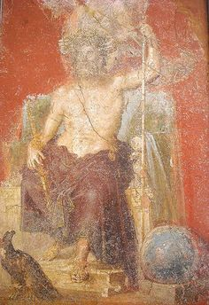 Enthroned Zeus, crowned by a Victory and flanked by the cosmic symbols of the eagle and the globe - wall ğaintings from the House of the Dioscuri at Pompeii - at the Museum of Naples