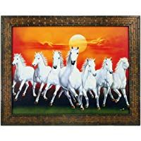 Indianara 7 Horses Rectangular Synthetic Wood Art Painting 29 Cm