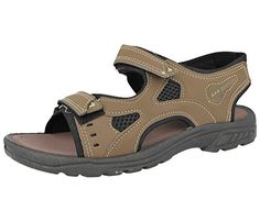 MENS LEATHER TOUCH STRAP BROWN HIKING TRAIL SUMMER CASUAL SANDAL SHOES 7-12