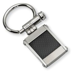 Men's Stainless Steel Brushed and Polished Black Carbon Fiber Key Ring
