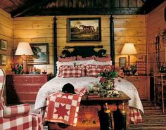 Love the gingham in this rustic country cabin bedroom. Farmhouse Style Bedrooms, French Country Bedrooms, Bedroom Country, Farmhouse Decor, Cabin Bedrooms, Country Bedding, Bedroom Rustic, Vintage Farmhouse, Modern Bedroom