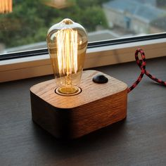 Edison LampWood LampWooden Edison LampTable by MasterWoodUA
