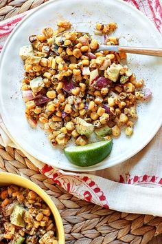 Roasted Corn Salad with Avocado tossed in a lime yogurt dressing! Perfect picnic dish! @danielleomar