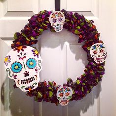sugar skull halloween wreath deco mesh 18 inches  day of the dead made by awreathforyouca