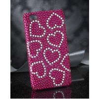 Glittery Mobile Phone Cover Pink Hearts
