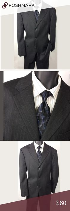 """Andrew Fezza Charcoal Striped 100% Wool 42L Suit Andrew Fezza Charcoal Striped 100% Wool Size 42L Suit 