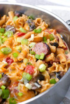 One Pot Cheesy Kielbasa Pasta   thetwobiteclub.com