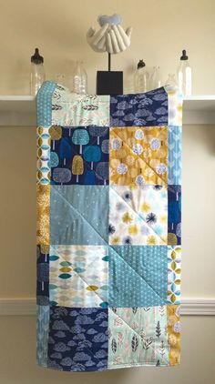 Modern Baby Quilt - First Light - Patchwork, Navy, Blue, Mustard Yellow, Mint, Silver, White, Clouds, Trees, Handmade, Boy, Girl, Minky Back
