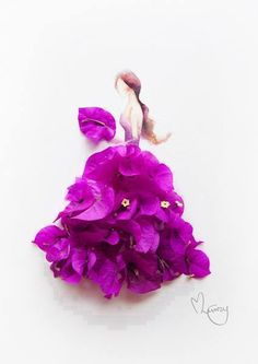 Amazing and Creative Floral Watercolor Painting Art Fashion illustration with real flowers petals The post Amazing and Creative Floral Watercolor Painting Art appeared first on Diy Flowers. Arte Floral, Grace Ciao, Arte Fashion, 3d Fashion, Fashion Artwork, Fashion Painting, Classy Fashion, Dress Fashion, Fashion Design