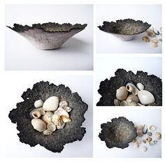 Sally Bowman, paper pulp bowls Paper Mache Projects, Paper Mache Clay, Diy And Crafts, Arts And Crafts, Paper Crafts, Paper Bowls, Paper Basket, Paperclay, Paper Artist