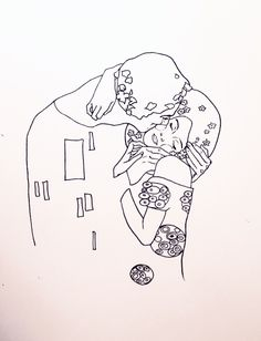 "Minimal line rendering of Gustav Klimt's ""The Kiss"" by Kira Blake Schnitzler 