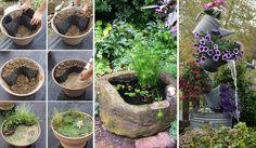 15 Budget Friendly DIY Mini Ponds in a Pot - http://www.amazinginteriordesign.com/15-budget-friendly-diy-mini-ponds-in-a-pot/